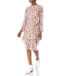 James & Erin Long Sleeve Asymetric Waterfall Midi Dress - Pink