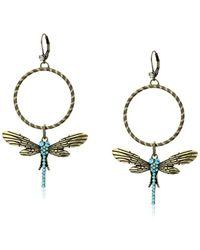 "Betsey Johnson ""throwback Betsey"" Pave Dragonfly Gypsy Hoop Earrings - Metallic"