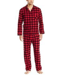 Hanes Long Sleeve Flannel Pajamas - Red