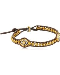 Miguel Ases Gold Beaded Double Oval Brown Leather Slip-knot Bracelet - Metallic