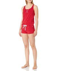 Calvin Klein Jersey Tank and Short Pajama Pyjama Set - Rot