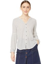 Lucky Brand Button Front Puff Sleeve Peasant Top In White Multi
