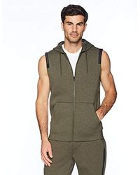 Peak Velocity Amazon Brand - Metro Fleece Full-zip Sleeveless Athletic-fit Hoodie - Green