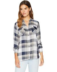 Alfani Plum Roll-Tab-Sleeve Plaid Shirt S