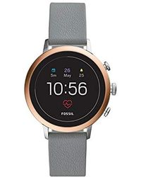 Fossil - Gen 4 Venture Hr Two Stainless Steel And Leather Touchscreen Smartwatch, Color: Silver/rose Gold, Grey (model: Ftw6016) - Lyst