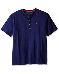 U.S. POLO ASSN. Big And Tall Slim Fit Slub Space Dyed Henley T-shirt - Blue