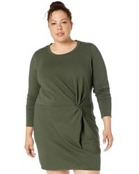 Core 10 Plus Size Cotton Modal Fleece Twist Long Sleeve Sweatshirt Dress - Green