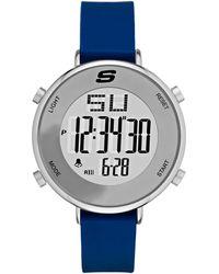 Skechers Magnolia Quartz Metal And Silicone Digital Watch Color: Silver - Metallic