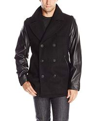 Sean John - Peacoat With Faux-leather Sleeves - Lyst