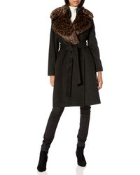Via Spiga Single Breasted Wool Maxi Jacket W/faux-fur Collar - Black