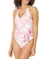 Guess Tie Front Onepiece Swim Suit - Pink