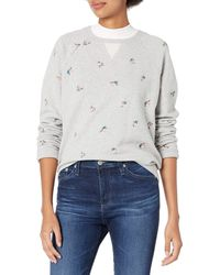 Lucky Brand Allover Embroidered Crew Neck Sweatshirt - Gray