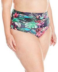 ed8b41dfe85 Coastal Blue - Plus Size Swimwear Shirred High Waist Bikini Bottom - Lyst