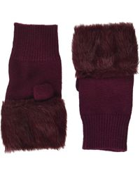Steve Madden Faux Fur Hand Warmer With Solid - Red