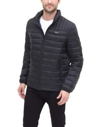 DKNY Water Resistant Ultra Loft Quilted Packable Puffer Jacket - Black