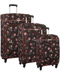 Nine West 3 Piece Lightweight Spinner Luggage Suitcase Set - Black