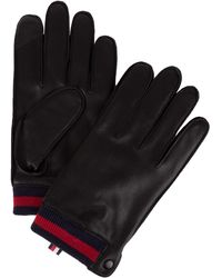 Tommy Hilfiger Leather Gloves - Black