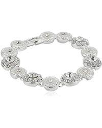"Napier ""giftables"" Boxed Silver-tone And Crystal Circle Flex Bracelet, 7.25"" - Metallic"