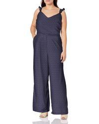 Jessica Simpson Plus Size Martina Sweetheart Neck Jumpsuit - Blue