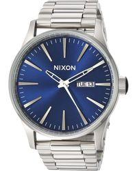 Nixon Sentry 38 Leather A377595-00. Gunmetal And Gold 's Watch - Metallic