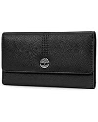 Timberland Leather Rfid Flap Wallet Cluth Organizer - Black