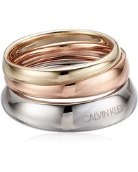 Calvin Klein Groovy Tri-color Ring Set - Multicolor