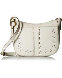 Frye Ilana Perf Zip Crossbody (white Matte Leather) Cross Body Handbags