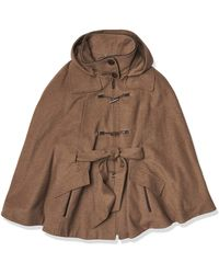 Calvin Klein S Toggle Front Wool Cape - Black