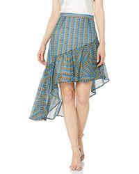 BCBGMAXAZRIA Bcbg Striped Pyramid Asymmetric Skirt - Blue