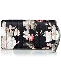 Buxton Channel Quilted Luxe Rfid Retractable Wristlet - Black
