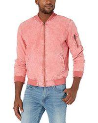 Levi's Acid Washed Cotton Bomber Jacket - Pink