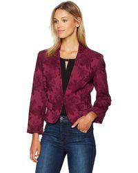 Nine West Floral Jacquard Kiss Front Jacket - Red
