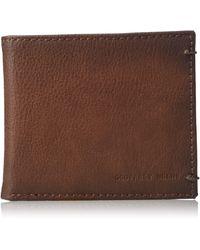 Geoffrey Beene Stitched Burnished Rfid Blocking Bifold Wallet - Brown