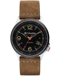 Columbia Canyon Ridge Stainless Steel Quartz Watch With Leather Strap - Brown