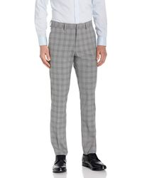 Kenneth Cole Reaction Stretch Traditional Plaid Slim Fit Flat Front Flex Waistband Dress Pant - Gray