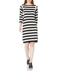 Joan Vass 3/4 Sleeve Stripe Dress - Black