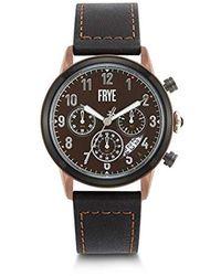 Frye Graham Stainless Steel Japanese Quartz Leather Strap, Black, 24 Casual Watch (model: 37fr00009-02)