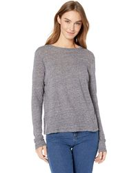 Enza Costa Vintage Cropped Long Sleeve Crew Neck T-shirt - Gray