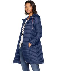 Tommy Hilfiger Mid Length Chevron Quilted Packable Down Jacket - Blue