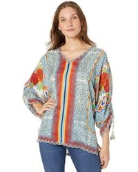 Johnny Was Cropped Printed Silk Blouse - Blue