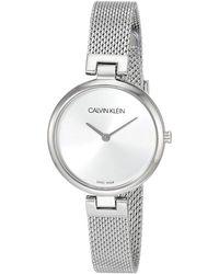 Calvin Klein Swiss Quartz Watch With Stainless Steel Strap - Metallic