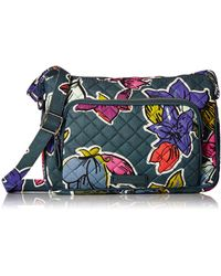 Vera Bradley - With Protection S Signature Cotton Rfid Little Hipster Crossbody Purse Falling Flowers One Size - Lyst