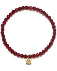 Satya Jewelry - S Carnelian Gold Ganesha Stretch Bracelet, Orange, One Size - Lyst