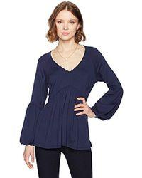 Ella Moon - Jade Knit Long Bell Sleeve V-neck Shirred Empire Waist Top - Lyst