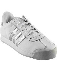 Lyst - Adidas Samoa Men Round Toe Leather White Sneakers in White ... 41325488c