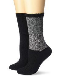 Steve Madden Legwear 2pk Marled Colorblock Boot Socks Sm45550 - Black