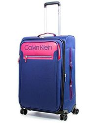 """Calvin Klein 25"""" Expandable Softside Spinner Luggage With Tsa Lock, Navy/red - Blue"""