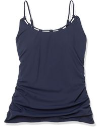 Sperry Top-Sider Shirred Tankini With Knot Neckline - Blue
