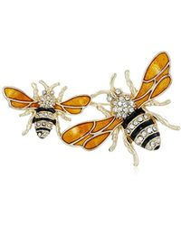 "Napier - ""classics"" Boxed Gold Tone And Yellow Bee Brooch Pin - Lyst"