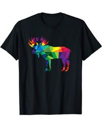 HUNTER Moose Colorful Low Poly Art Hunting Theme- S Gift T-shirt - Blue